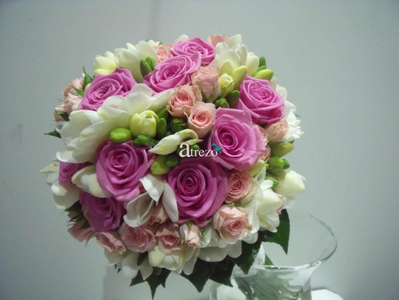 Rosa con toques blancos y verdes zoom