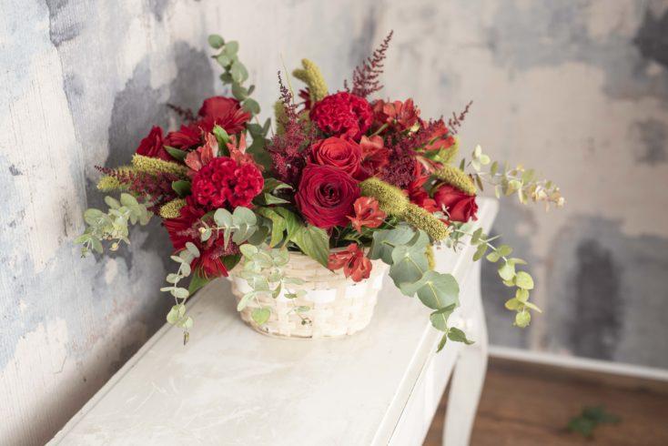 Cesta Mediana Flor Especial En Rojos