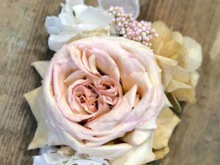 Pulseras de flor preservada grande blanco