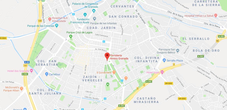 Cómo llegar a la Floristería Atrezo en Granada