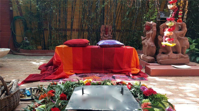 Flores estilo hindú manto