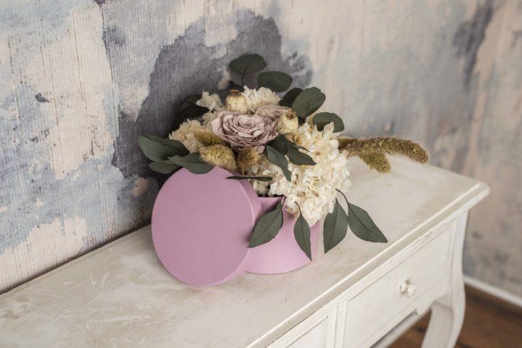 Caja De Flores Preservada Romantica Grande