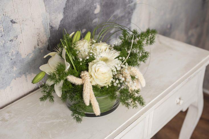 Diseno Floral Cristal Blanco En Base