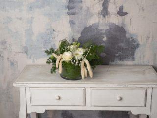 Diseño Floral En Base Cristal Blanco
