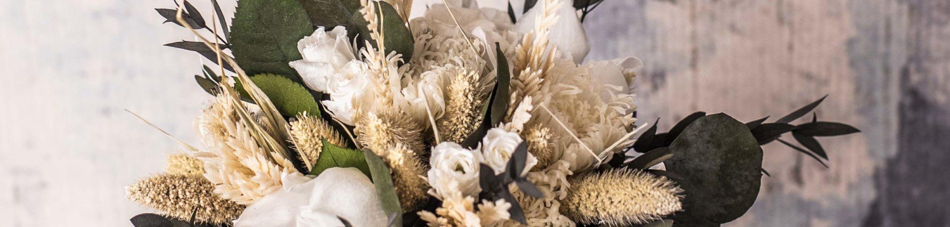 Ramo De Flores Preservado Seco Pequeno Blanco